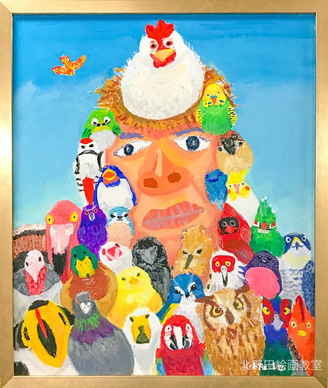 『鳥好きと人好きA』(じゅんやさん・アクリル画・F 20号)