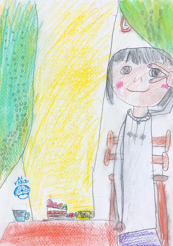 あこちゃん 小学1年生 パステル画