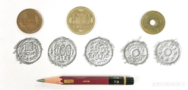 フロッタージュのワークショップ 北野田絵画教室 硬貨