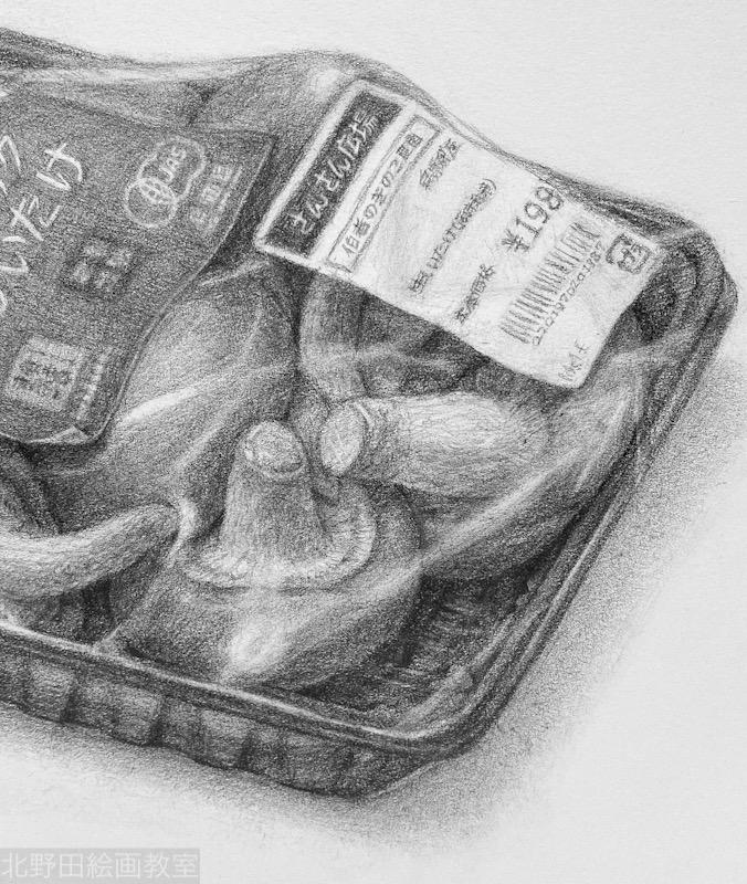 椎茸のデッサン(部分アップ)