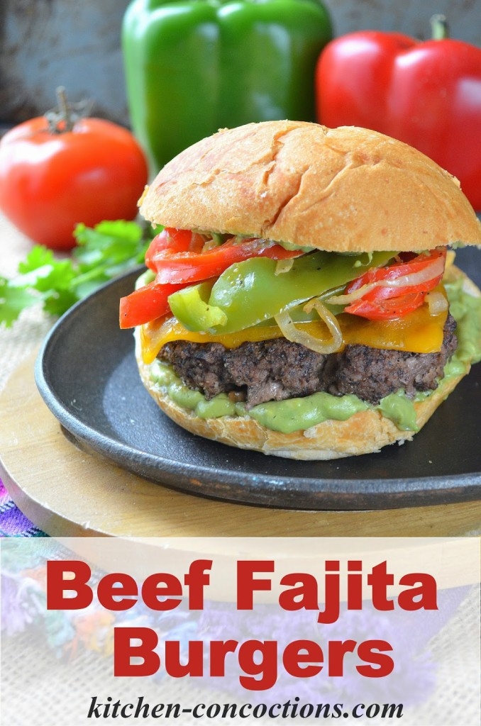 Beef Fajita Burgers with Creamy Avocado Ranch Spread - Kitchen ...