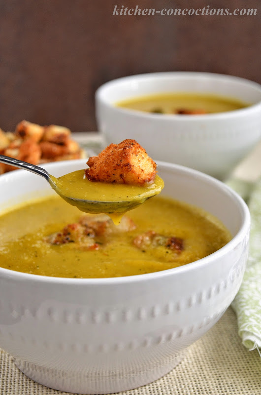 Winter Squash Soup with Gruyère Herb Croutons - Kitchen Concoctions