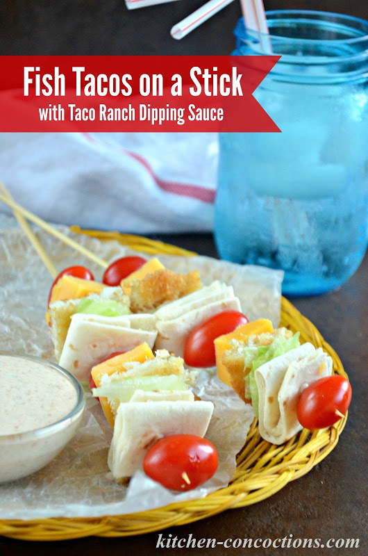 Fish tacos on a stick with taco ranch dipping sauce kids for Fish stick tacos