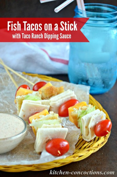 Fish tacos on a stick with taco ranch dipping sauce kids for Fish tacos with fish sticks