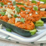 Buffalo Chicken Zucchini Boats