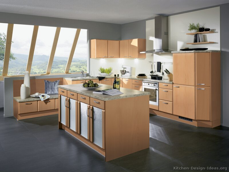 grey flooring kitchen natural wood cabinets    wwwkitchen