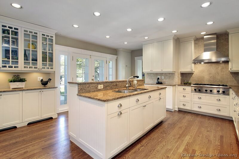 Pictures of Kitchens - Traditional - Off-White Antique Kitchen - white kitchen cabinets