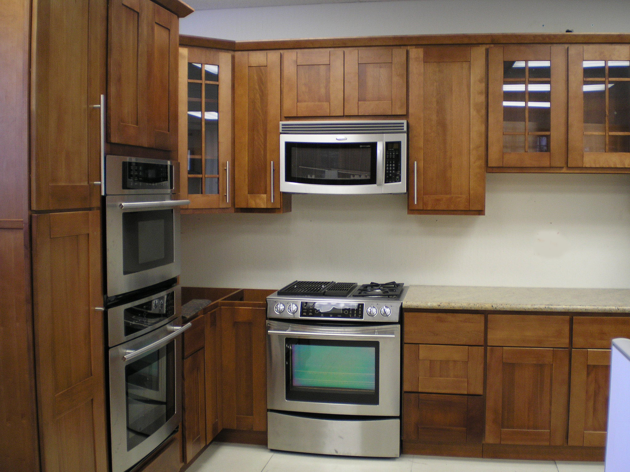 cherry kitchen cabinets wood kitchen cabinets Raised Panel Shaker Style Toffee Finish