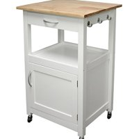 eHemco Kitchen Island Cart Natural Wood Top with White Base