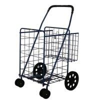 STRONICS Jumbo Folding Shopping Cart with Extra Basket Swivel Rotating Wheels