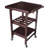 Oasis Concepts All Wood Entertainer Kitchen Cart, Walnut