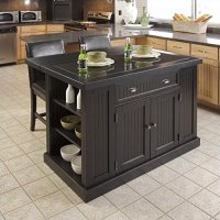 Home Styles Nantucket Granite Top Kitchen Island and Stools 3 Piece Set in Distressed Black