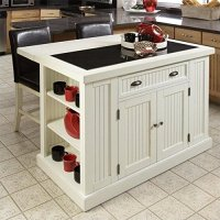 Home Styles 5022-949 Nantucket Kitchen Island and Stools, Distressed White Finish