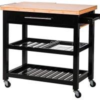 Merax® 100% Soild Wood Kitchen Cart with Bamboo Top Kitchen Storage Cabinet Cart, Black