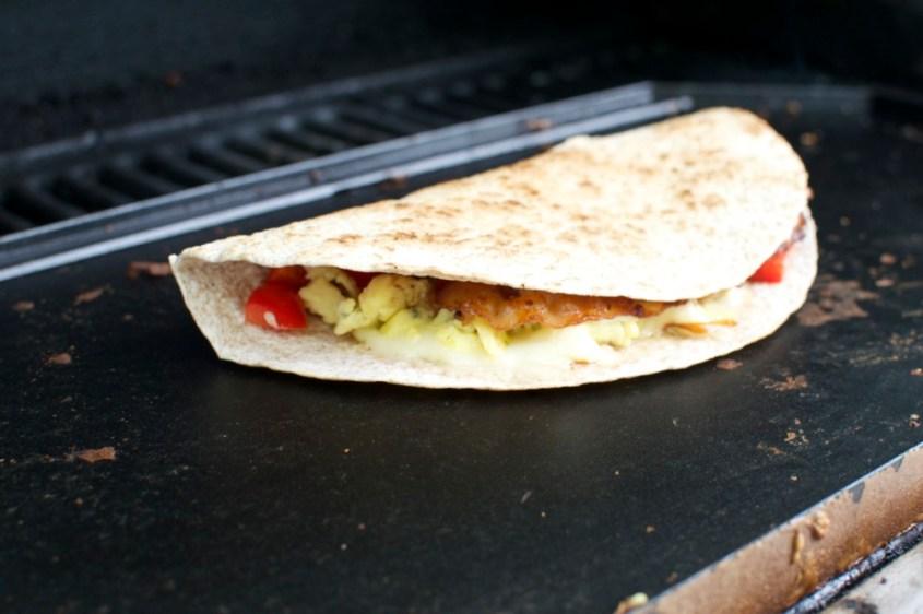 breakfast quesadilla on griddle
