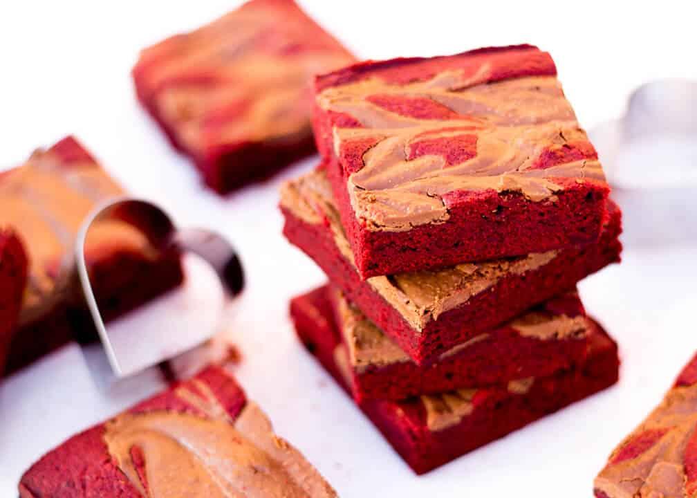 One Bowl Red Velvet Chocolate Swirl Brownies