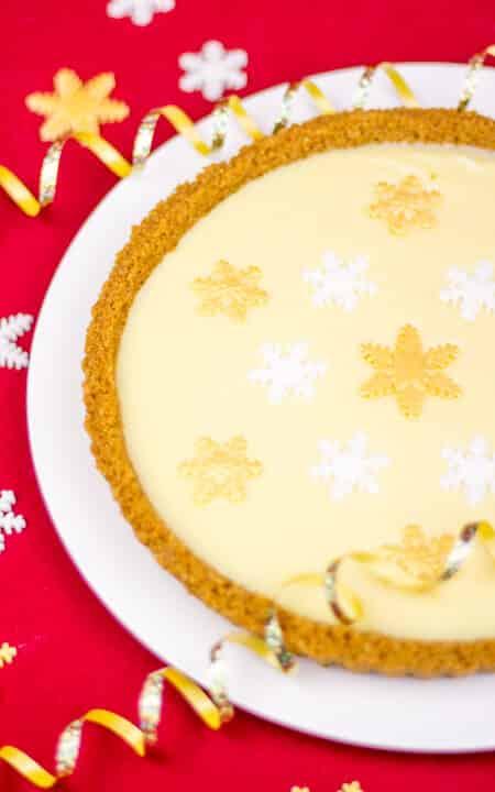 Christmas Tart | No Bake | 4 Ingredient | White Chocolate | Ginger | Easy