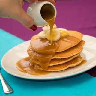 Sourdough Banana Pancakes with Salted Caramel Sauce  (non-sourdough version also included)