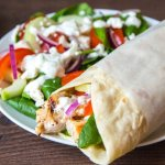 Chicken Souvlaki with Homemade Tzatziki - Light and spicy chicken wraps with a creamy cucumber dressing