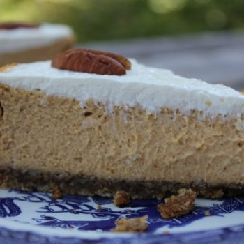 Pumpkin-Pecan cheese cake with bourbon-sour cream frosting. YES!