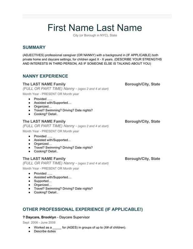 Our Nanny Resume Template Apply for Nanny Jobs KITH  KIN Nanny