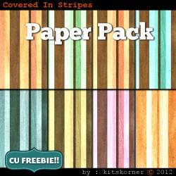 Covered In Stripes Scrapbook Paper Pack CU Freebie