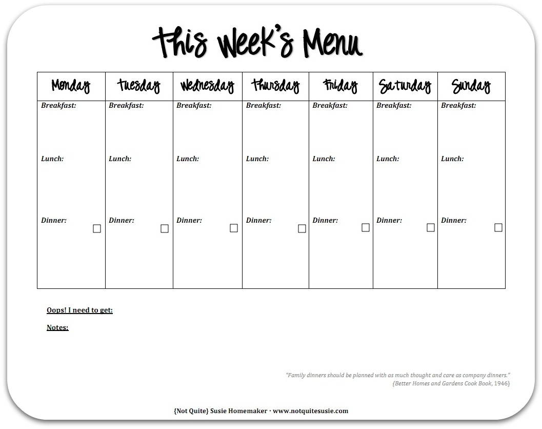 two week menu planner