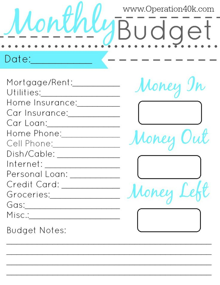 family budget planner worksheet