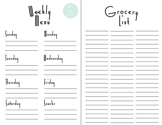 28 Free Printable Grocery List Templates Kitty Baby Love - Printable Weekly Menu Planner With Grocery List