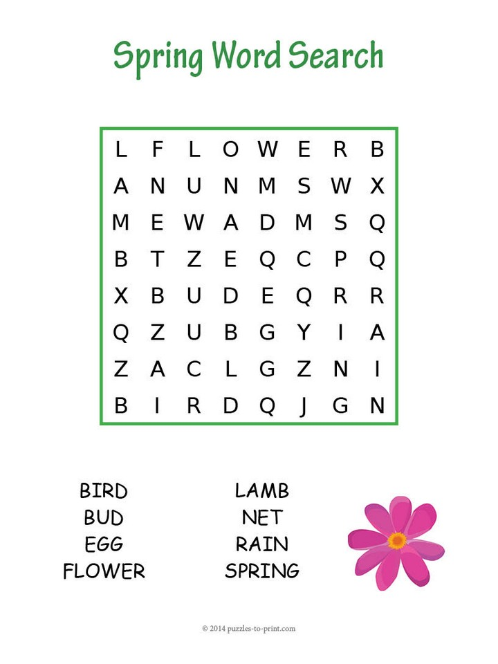 7 Printable Spring Word Searches KittyBabyLove