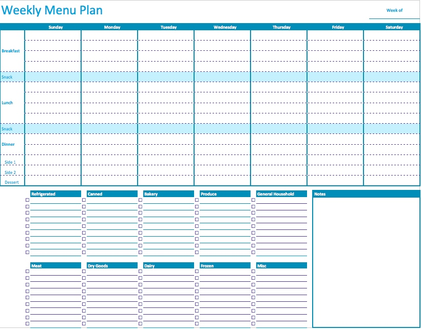 45+ Printable Weekly Meal Planner Templates Kitty Baby Love - Printable Weekly Menu Planner With Grocery List