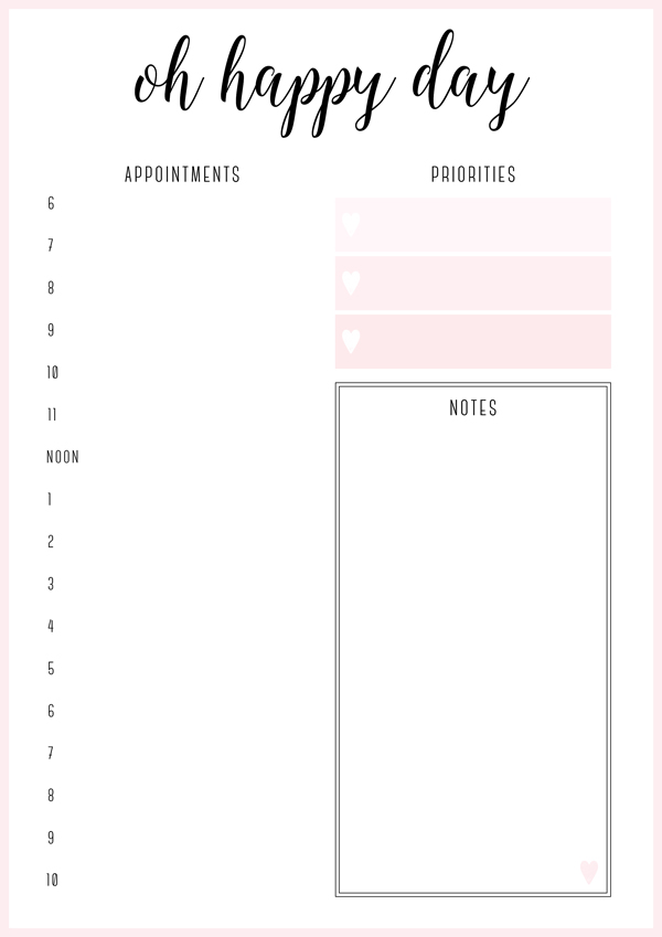 46 of the Best Printable Daily Planner Templates Kitty Baby Love - free printable weekly planner