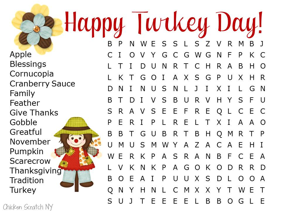 Stay Busy With Printable Thanksgiving Activities - Thanksgiving Fun Game