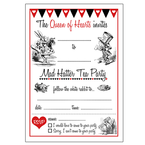 12 Cool Mad Hatter Tea Party Invitations Kitty Baby Love - party invite templates free