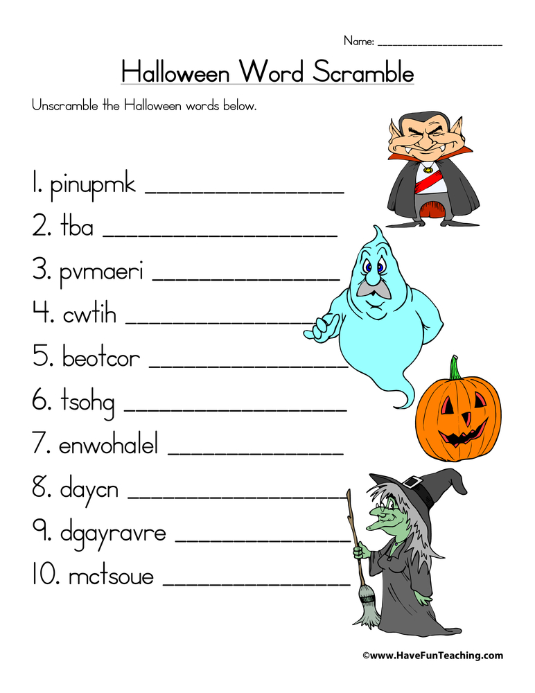 20 Spooky Halloween Word Scrambles KittyBabyLove