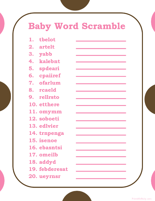 36 Adorable Baby Shower Word Scrambles KittyBabyLove