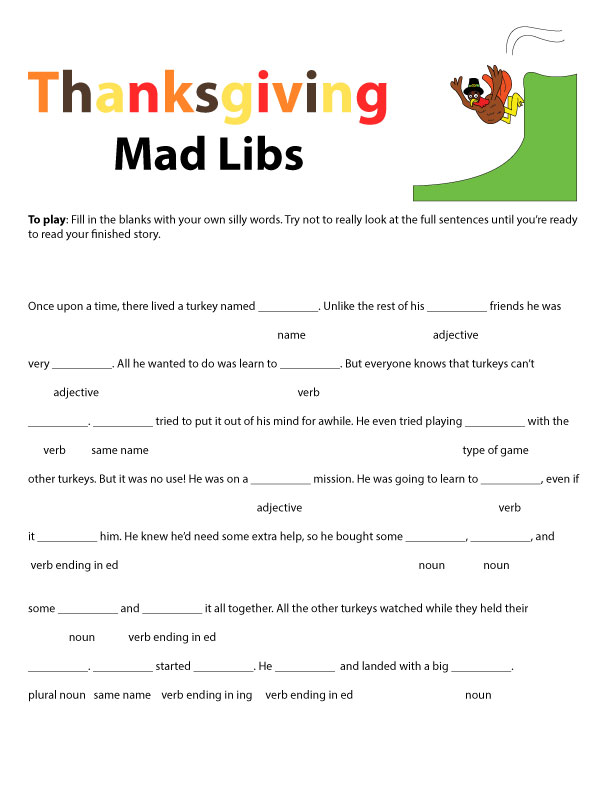 12 Funny Thanksgiving Mad Libs for All KittyBabyLove