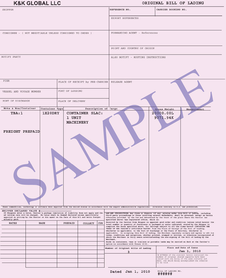 Bill of Lading Connaissement Integral