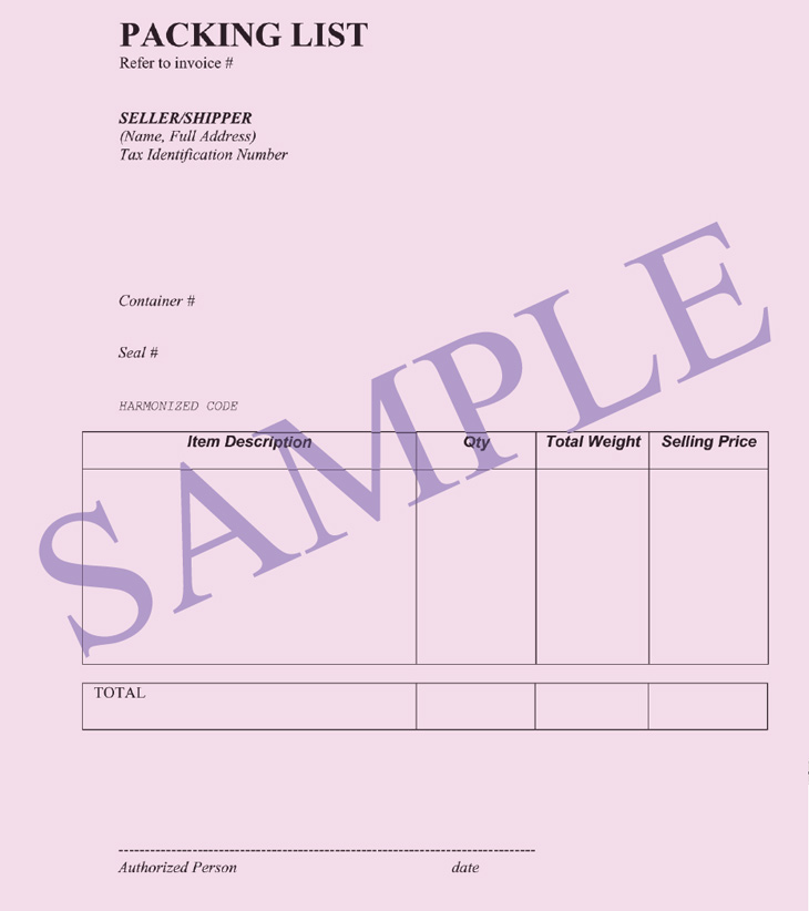 Packing List Shipping Documents Packing List