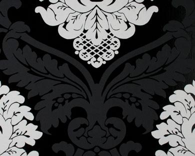 Wallpaper Black And White Damask Tapete Flock Schwarz Weiss Flock Retro Tapeten