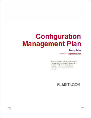 Configuration Management Plan Template (MS Word) Templates, Forms