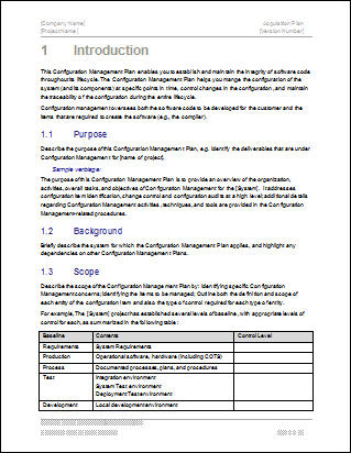 Configuration Management Plan \u2013 Download 24 page MS Word template