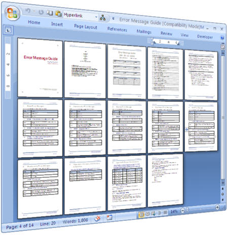 Error Message - Use this MS Word template to document error messages - software manual template
