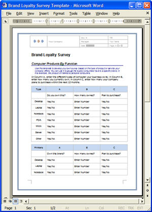 Free Market Research Brand Loyalty Survey Template + 12 Market - ms word survey template