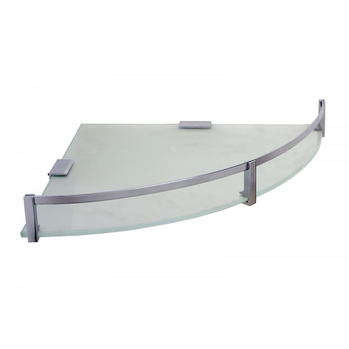 Klaxon Corner Glass Shelf With Brass Fittings Bathroom
