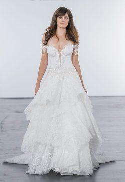 Modish Train Romantic Ball Gown Wedding Dress Kleinfeld Bridal Ball Gown Wedding Dresses Romantic Ball Gown Wedding Dress By Pnina Tornai Image Zoomed Lace Sleeves Ball Gown Wedding Dresses