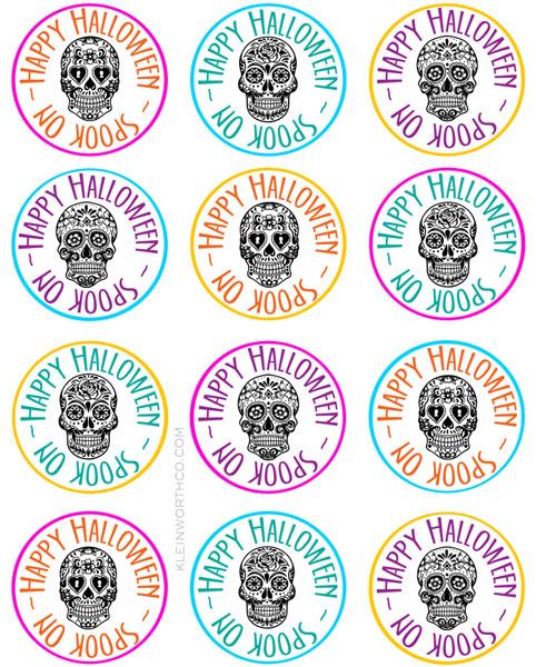 Sugar Skull Printable Gift Tag Goodie Bags - Kleinworth  Co