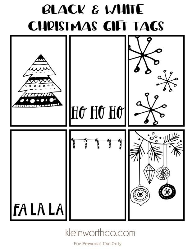 Black White Free Printable Gift Tags  Guy Gift Idea - Kleinworth  Co