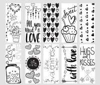 Valentine Printable Coloring Page Bookmarks - Kleinworth & Co