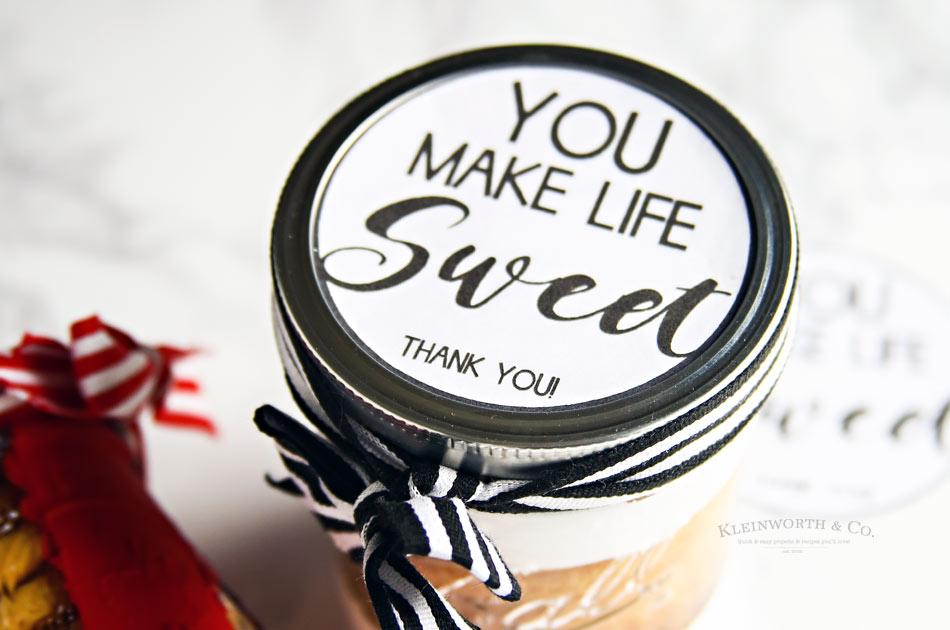 You Make Life Sweet - Free Printable Jar Label - Kleinworth  Co